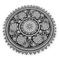 145CM Bohemia Elephant Black White Round Yoga Mat Beach Towel Shawl Wall Hanging Tapestry