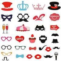 31Pcs Photo Mustache Stick Booth Wedding Prop Welcome Mask Props Wedding Party Decoration