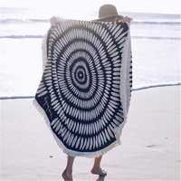 150CM Black White Round Tassel Yoga Mat Beach Printing Throw Towel Shawl Wall Hanging Tapestry