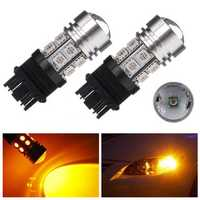 3157 10W 12 SMD LED 5050 Amber Stop Tail Light Bulb
