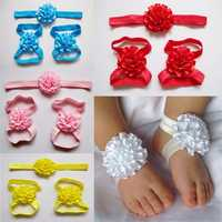 Kids Baby Girl Infants Feet Accessories Flower Barefoot Sandals Floral Hairwear Headbrand Photography Props Set