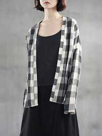 S-5XL Vintage Long Sleeve Plaid Cotton Kimonos Cardigan Coat