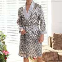 Mens Imitation Silk Printing Bathrobe Thin Sleepwear Robe