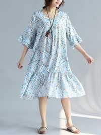 Floral Printed Half Sleeve Mid Calf Dress