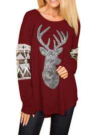 Christmas Deer Print V-neck Long Sleeve Casual Sweatshirt