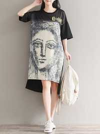 Casual Printed O-Neck Half Sleeve Irregular Hem Women Dress