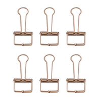 6Pcs Deli 9415 Rose Gold Binder Clip for Office School Paper Organizer Stationery Metal Clips