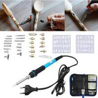 37Pcs Wood Burning And Soldering Iron Kit Magic Soldering Pyrography Tools Set