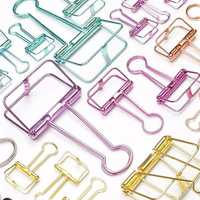 Novelty Solid Color Hollow Out Metal Clothespin Binder Clips Notes Letter Paper Clip Office Home Supplies