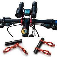 GUB Bicycle Bike Double Handlebar Extension Mount Carbon Fiber Extender Light Holder For Extended 31.8MM