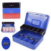 Metal Mini Cash Box Drawer Lock Bank Deposit Safe Password Security Tray Storage Box
