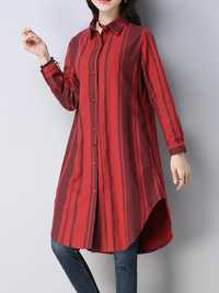 Women Casual Lapel Long Sleeves Striped Long Blouse Shirt