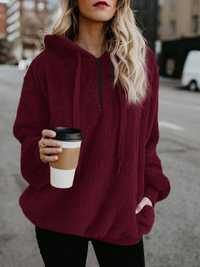 Women Fleece Hooded Solid Color Autumn Winter Sweatshirt