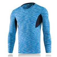 Mens Tight Quick Drying Long-sleeved Sports Running Fitness Elastic Polyester T-shirt