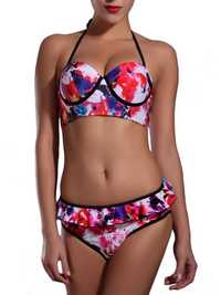 Women Sexy Printing Underwire Halter Push Up Flounces Bikini Sets
