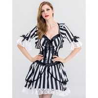 Halloween Sexy Vampire Cosplay Costume Women Striped Lace Patchwork Mini Dress