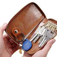 Women Genuine Leather Zipper Key Case Short Holder Retro Purse Bags