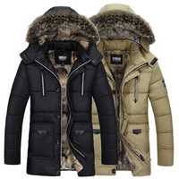 Mens Winter Warm Hooded Multi Pockets Zipper Button Cotton Padded Thick Trendy Parkas Jacket