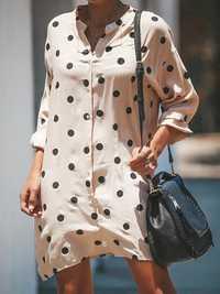 Polka Dot Print Stand Collar Shirt Dress