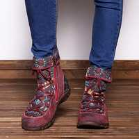 SOCOFY Leather Splicing Jacquard Boots