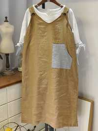 Women Sleeveless Patchwork Solid Color Vintage Dress