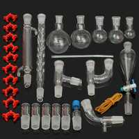 29Pcs/Set 24/29 Laboratory Glassware Kit 25/50/100/250/500mL Flask Lab Chemistry Glass Ground Joint Distillation Separation
