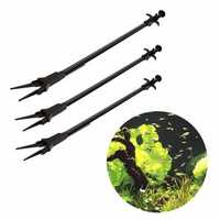 Aquarium Fish Tank Black Plastic Tweezers Long Reach Lever Grip Planted Plants