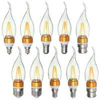 E27 E14 E12 B22 B15 3.5W 4Leds LED Pure White Warm White Filament Light Candle Bulb AC220V