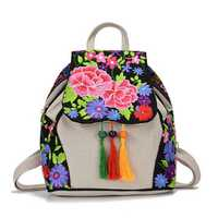 Women National Style Fashion Embroidery Bag Handbag Backpack