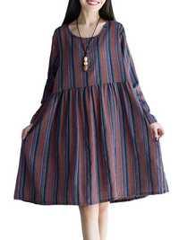 Vintage Women Stripe Long Sleeve Waist Loose Dress