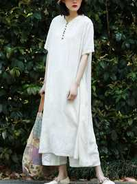 Casual A-line Short Sleeves Maxi Dress