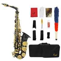 Brass Engraved Eb E-Flat Alto Saxophone Sax With Case Gloves Cleaning Cloth Belt Brush
