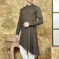 Mens Ethnic Tunic Style Mid Long Tops Vintage Shirts