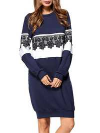 Lace Crochet Patchwork Sweatshirt Dress