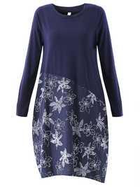 Navy Women Floral Printed O-Neck Pocket Patchwork Long Sleeve Dress