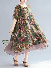 Women Elegant Floral Print Two Layers Chiffon Dress