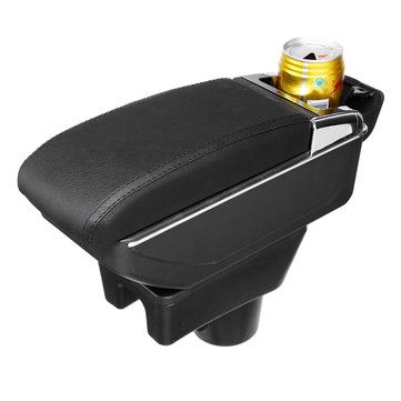 Black Leather Black Line Double Layer Armrest Car Storage Box For Mitsubishi 2014 2018