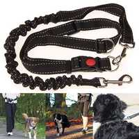 Black Adjustable Handsfree Elastic Pet Dog Lead Running Jogging Waist Belt Leash