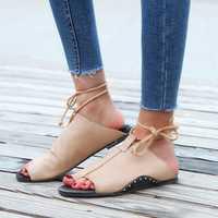 Flip Flop Flat Sandals Lace up Comfortable Casual Shoes