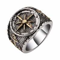 Retro Finger Rings Antique Silver Compass Patter Finger Ring