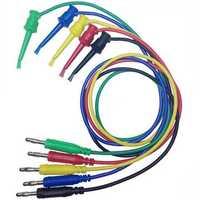 DANIU 1PCE 4mm Banana Plug to Copper Dual Test Hook Clip Cable Lead Wire 100cm