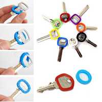 32pcs Bright Colors Hollow Silicone Key Cap Covers Topper Keyring With Bly Braille