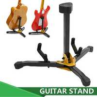 Folding Metal Guitar Floor Stand Basses Holder Musical Instrument Rack For One
