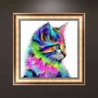 Honana WX-679 30x30cm 5D DIY Cross Stitch Colorful Cat Diamond Printing Embroidery Home Decor