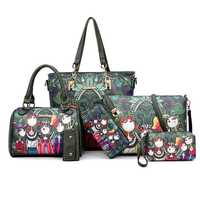 Women 6PCS Forest Series Handbags Multi-Function Crossbody Bags Long Purse