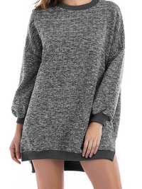 Oversized Crew Neck Long Sleeve Patchwork Knit Sweaters