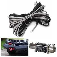 15m 7000LB Nylon Rope Winch Tow Cable with Sheath for ATV SUV Off Road