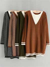 Women Striped Loose V-neck Long Sleeve Sweaters