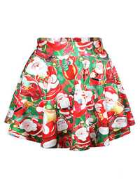 Christmas Printing Santa Claus High-waisted Women Puff Skirts