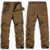 Men Military Outdooors Cargo Pants Loose Casual Cotton Multi Pockets Straight Leg Trousers
